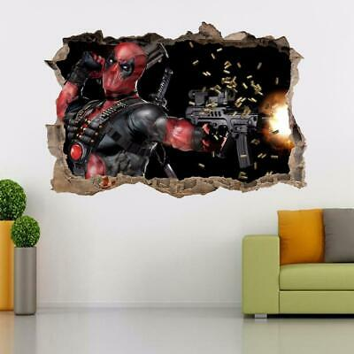 DEADPOOL Smashed Wall Decal Graphic Wall Sticker Home Decor Art Marvel H314