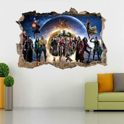 Avengers End Game 3D Smashed Wall Sticker Decal Decor Art Mural Marvel J1417