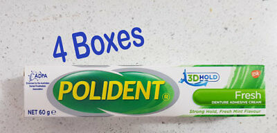 Polident Denture Adhesive Cream Flavour-Fresh 4 boxes of 60g each