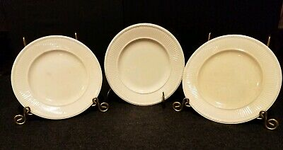 "3-Wedgwood 8"" Salad Plates EDME Ribbed Off White Ivory Made In England GUC"