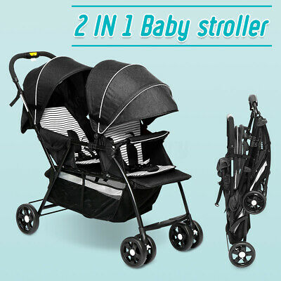 Baby Stroller 2in1Double Seat Adjustable Pushchair Kids Stroller Tandem Car Seat