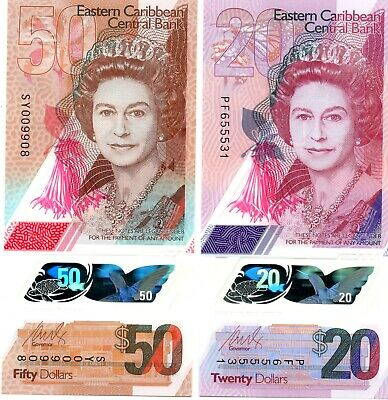 EAST CARIBBEAN STATES $50 & $20 Dollars 2019 P New x 2 UNC Polymer Banknote Set