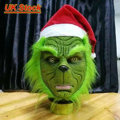 Halloween The Grinch Stole Adult Mask with Christmas Hat Party Prop Costume Gift