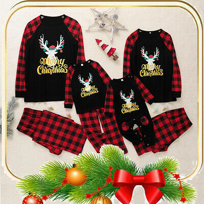 Family Matching Christmas Nightwear Kids Mom Daddy Baby Xmas Pajamas PJ's Suit