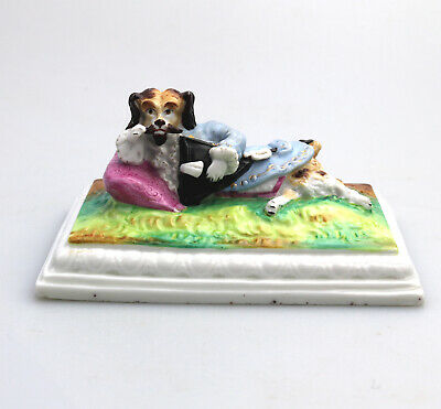 Antique European Porcelain novelty unusual rare humorous Dog Desk Weight C.19thC