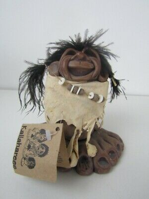 Kallaharees Hand Made Heavy Ceramic Pottery Art Figure Troll With Tag Vintage