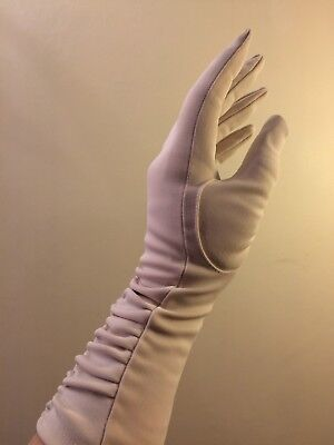 Vintage Silky Gloves Cream Nylon size 6.5 VGC Wedding Bride Evening Beautiful
