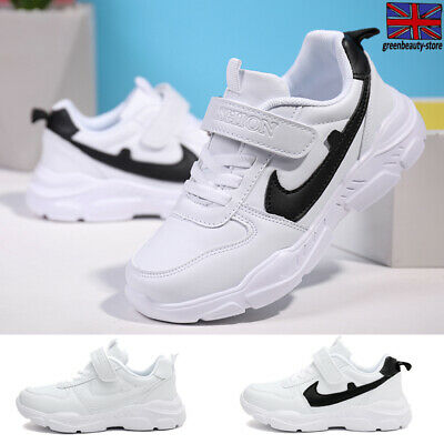 Children Kids Athletic Trainers Boys Girls Sports Running Shoes Faux Leather Gym