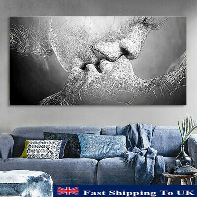 Black&White Love Kiss Abstract Canvas Print Painting Art Picture Home Room Decor