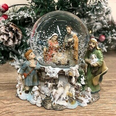 Christmas Nativity Holy Manger Scene Snow Globe with Shepherd & Wise Men 89278