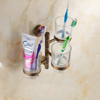 Bathroom Toothbrush Holder Glass Cup Swivel Rail Storage Shelf Wall Mount Hanger