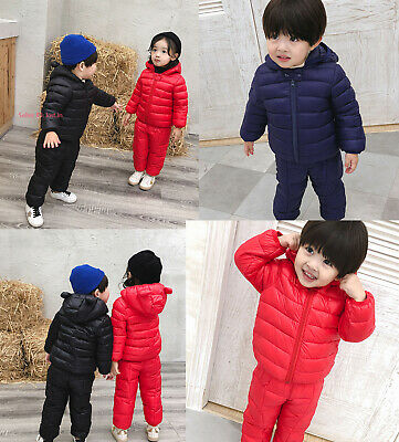Kids Boys Girls Winter Warm Cotton Down Jacket&Pant Outfits Sets Coat Outerwear