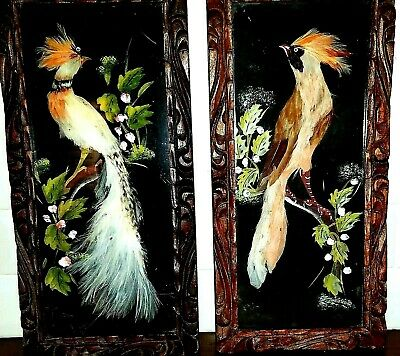 Vintage Mexican Feather Paintings Birds One of a Kind Mid Century Modern Art