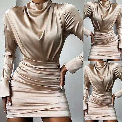 Ladies Dress Women Autumn Solid Dress Fashion Pleated Sexy Clubwear Mini