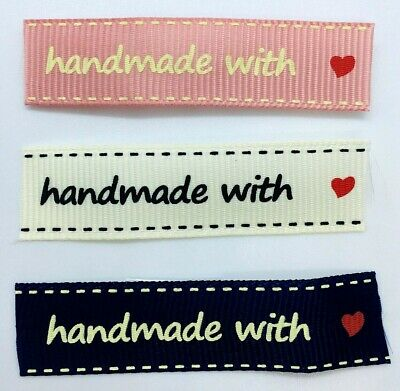10 FABRIC Hand Made LABELS Red+White Black+Mink Toffee+Blak 4.5x1cm SEWING TRIMS