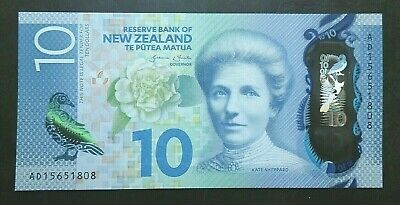 New Zealand 10 Dollars p-192 2015 UNC Polymer Banknote