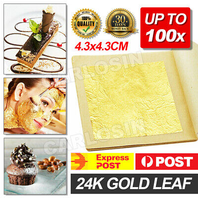 Pure 24K Edible Gold Leaf Sheets Cooking Framing Art Craft Decorating Up To 100X