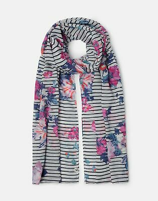 Joules 209914 Printed Scarf in NAVY STRIPE FLORAL in One Size