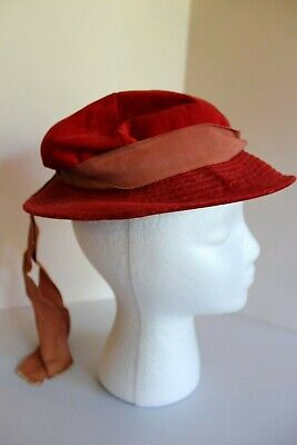 Vintage Mr John Juniorette Red Child's Hat With Ribbon Band