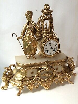 Beautiful French 19th C. Ormolu and marble figural mantle clock