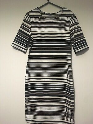 Striped Tunic Dress White Black Brown Size 8 Or s Forever