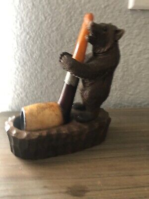 Antique Swiss Black Forest Wood Carving PIPE BEAR Tobacco c1900/ Austria Pipe