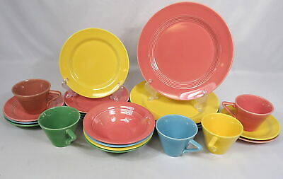 (4) 5 Piece Place Settings Homer Laughlin Harlequin China Dinnerware Plates Cups
