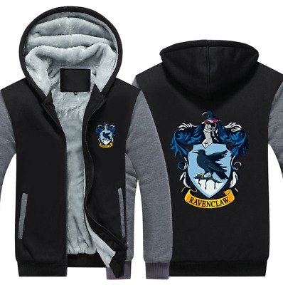 Harry Potter Warm Hoodie Mens Ravenclaw Jackets Fleece Winter Thick Sweatshirts