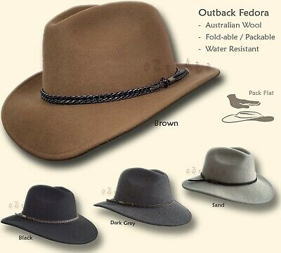 oZtrALa PREMIUM Australian Wool Felt HAT Outback Fedora Mens Leather Band Cowboy