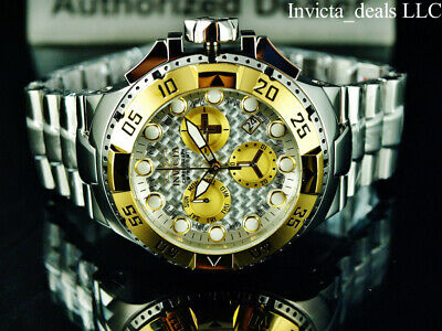 Invicta 50mm Excursion Swiss Chronograph Glass Fiber Dial Gold & Silver SS Watch