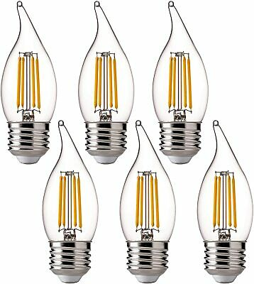 Dimmable LED Candelabra Bulbs Filament Flame Light 2700K 60W Equivalent 110V 6P