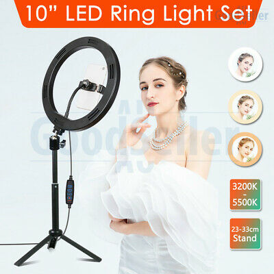 "10"" 5500K Dimmable LED Ring Light with Stand Circle Lamp Selfie Make Up Video"