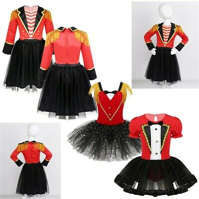 Girls Kids Circus Ringmaster Mesh Tutu Dress Dance Party Costume Cosplay Outfit