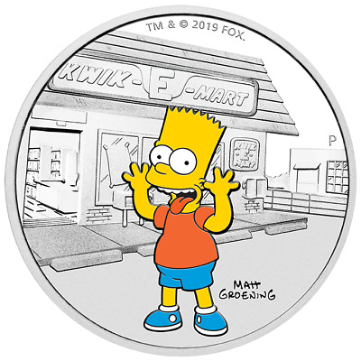 2019 The Simpsons Bart 1 oz Silver Proof Perth Mint COA & Presentation Case