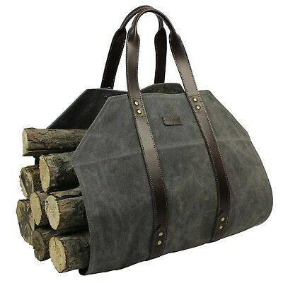Log Carrier|Waxed Canvas Log Holder|Firewood Carrier Tote Bag|Fireplace Wood ...