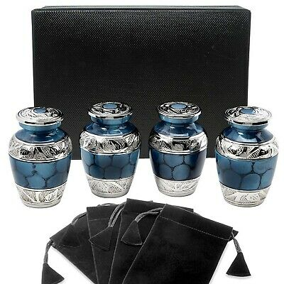 Heavenly Peace Dark Blue Small Keepsake Urns for Human Ashes - Set of 4 - Bea...