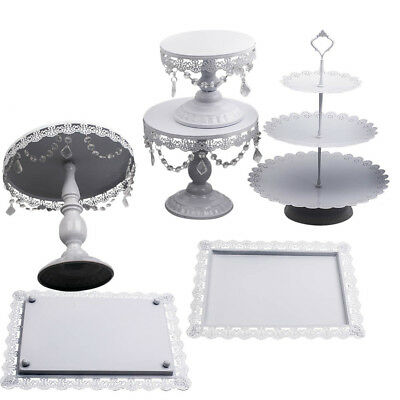 6pcs Cake Cupcake Stand Display Dessert Holder Wedding Party Crystal Decor white
