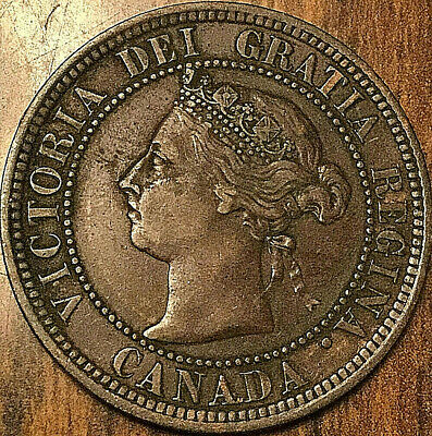 1892 CANADA LARGE CENT COIN LARGE 1 CENT PENNY - Obverse #2 variety