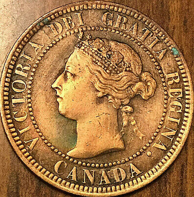 1900H CANADA LARGE CENT COIN LARGE 1 CENT PENNY - Cleaned