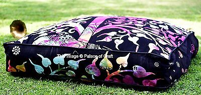 Indian Elephant Tree Of Life Square Floor Pillow Cover Pouf Cushion Case Dog Bed