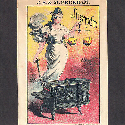 Caledonia MN 1800s Blindfold Sword of Justice Stove Peckham Victorian Trade Card