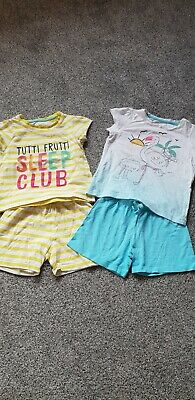 2x pairs of girls tshirt & shorts pyjamas from MOTHERCARE age 1-1.5yrs