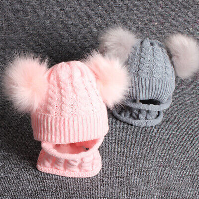 Toddler Baby Kids Winter Warm Double Pom Bobble Knit Hat Beanie Cap Scarf Set