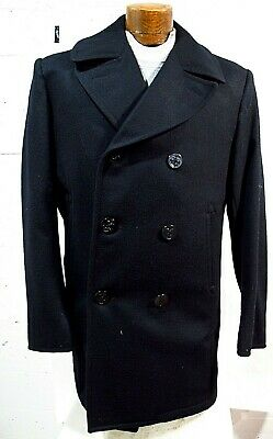 Vtg DSCP US Naval Men's Blue Wool Pea Coat SZ MT or 42 L