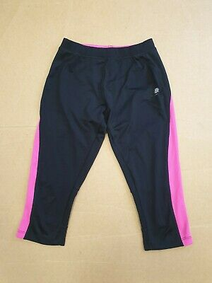 Ff101 Womens Karrimor Run Black Pink Stretch 3/4 Running Leggings Uk 10 W28 L20
