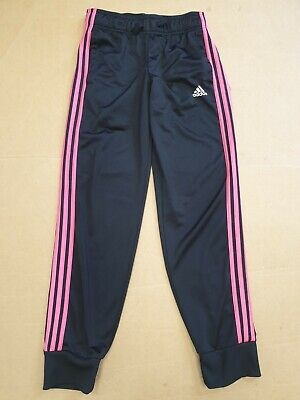 Ff107 Girls Adidas Black Pink Striped Tracksuit Bottoms Age 13-14 Years W28 L30