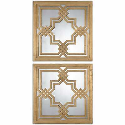 Uttermost Piazzale Gold Square Decorative Mirrors (Set of 2) Antique Silver 19.7