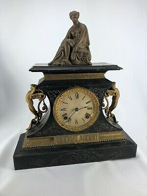 Antique Victorian Ansonia Clock With Statue Figure On Top