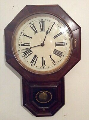 Octagonal face American Mahogany Drop Dial Chiming Wall Clock