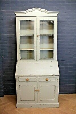 Antique Style Painted Pine Glazed Bureau Bookcase ~ Farmhouse Cupboard Cabinet